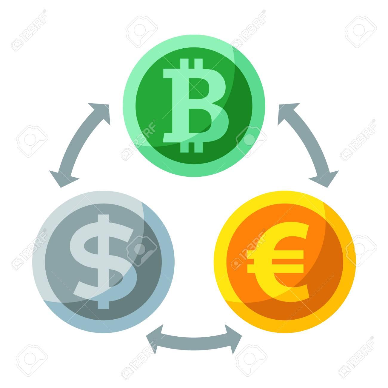 Currency and cryptocurrency exchange digital payment system currency and cryptocurrency exchange digital payment system flat icon dollar euro bitcoin buycottarizona
