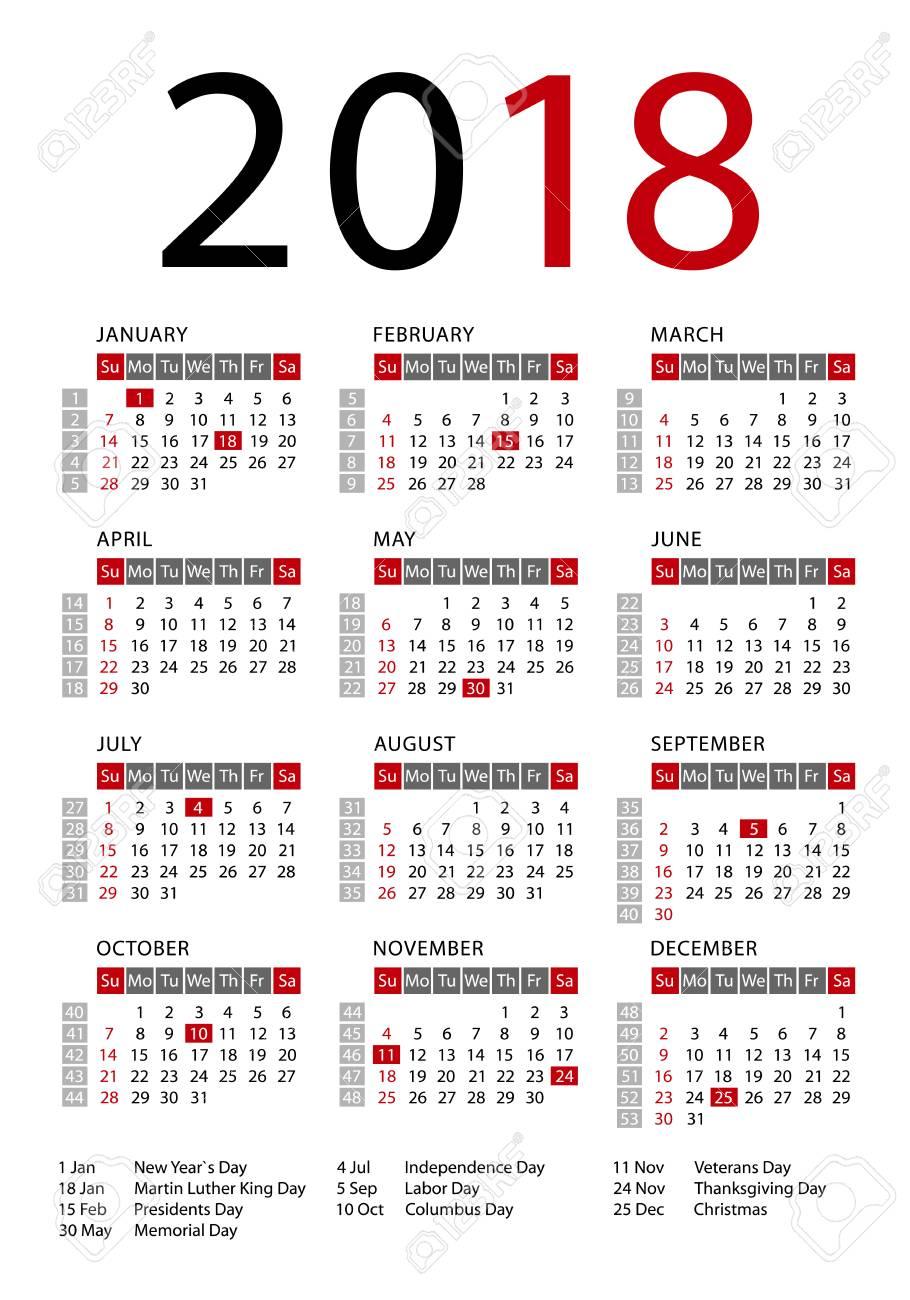 La Semana De La Plantilla Calendario 2018 Comienza El Domingo Días Festivos En Los Ee Uu Ilustración Vectorial