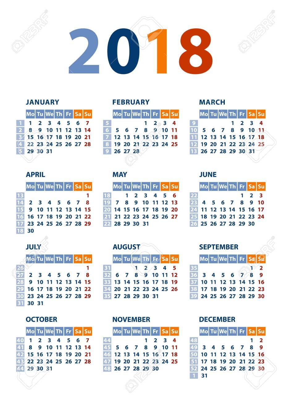 calendar 2018 template week starts monday vector illustration stock vector 89177846