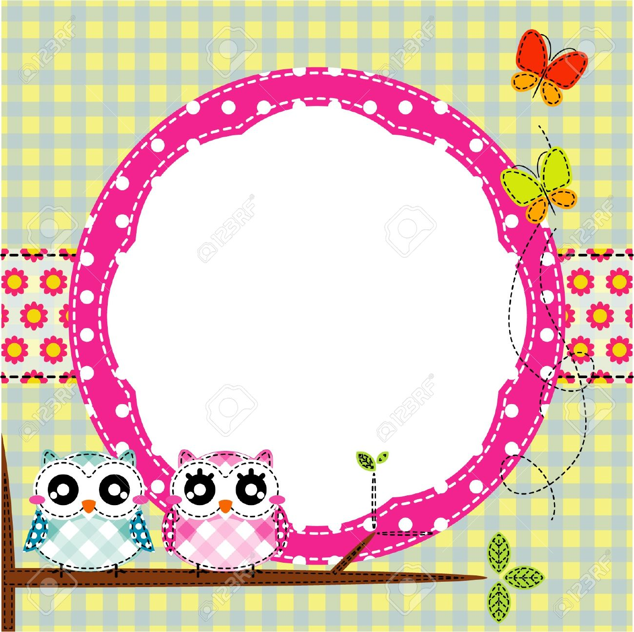 frame of cute owls on branch royalty free cliparts vectors and  - frame of cute owls on branch stock vector