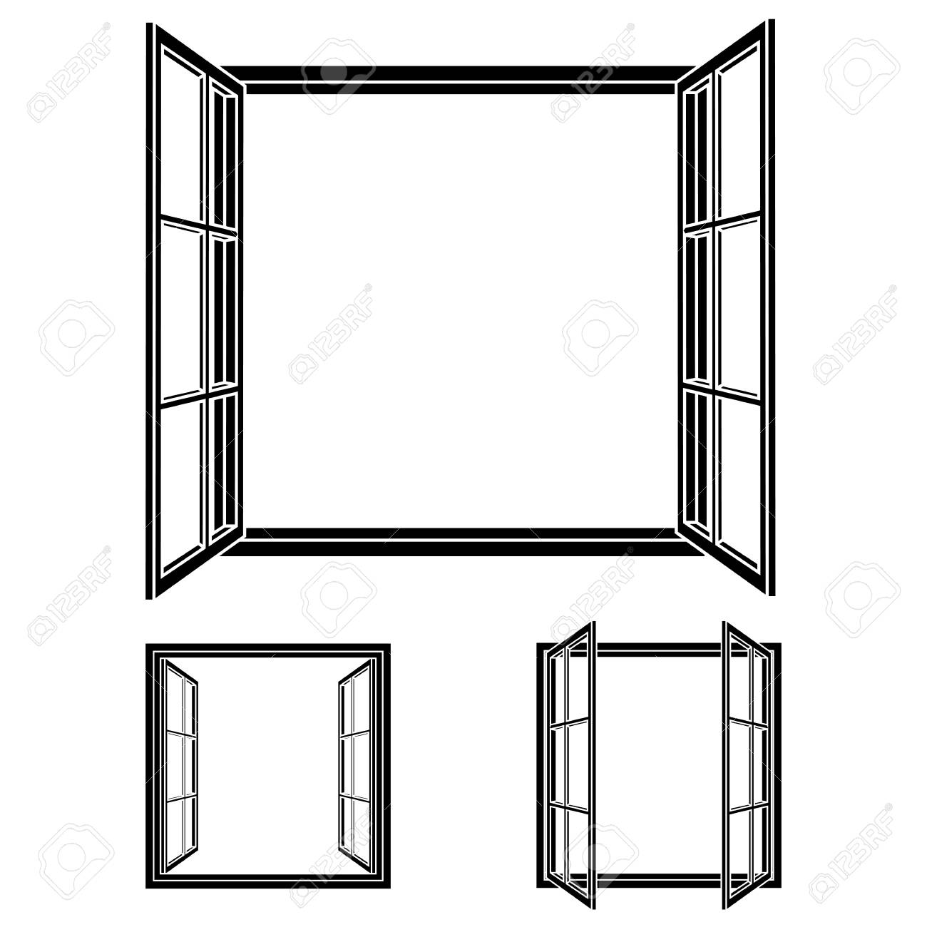 Open Window Frame Icons. Add Your Own Image Or Text. Vector ...