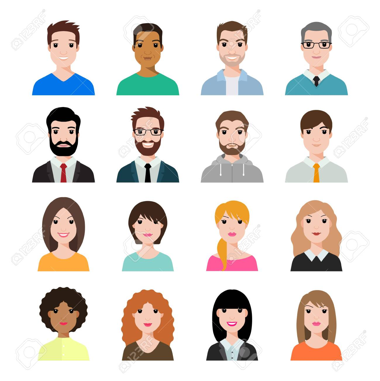 People icons set avatar profile diverse faces (use for social network) . Vector illustration of flat design people characters. - 153297491