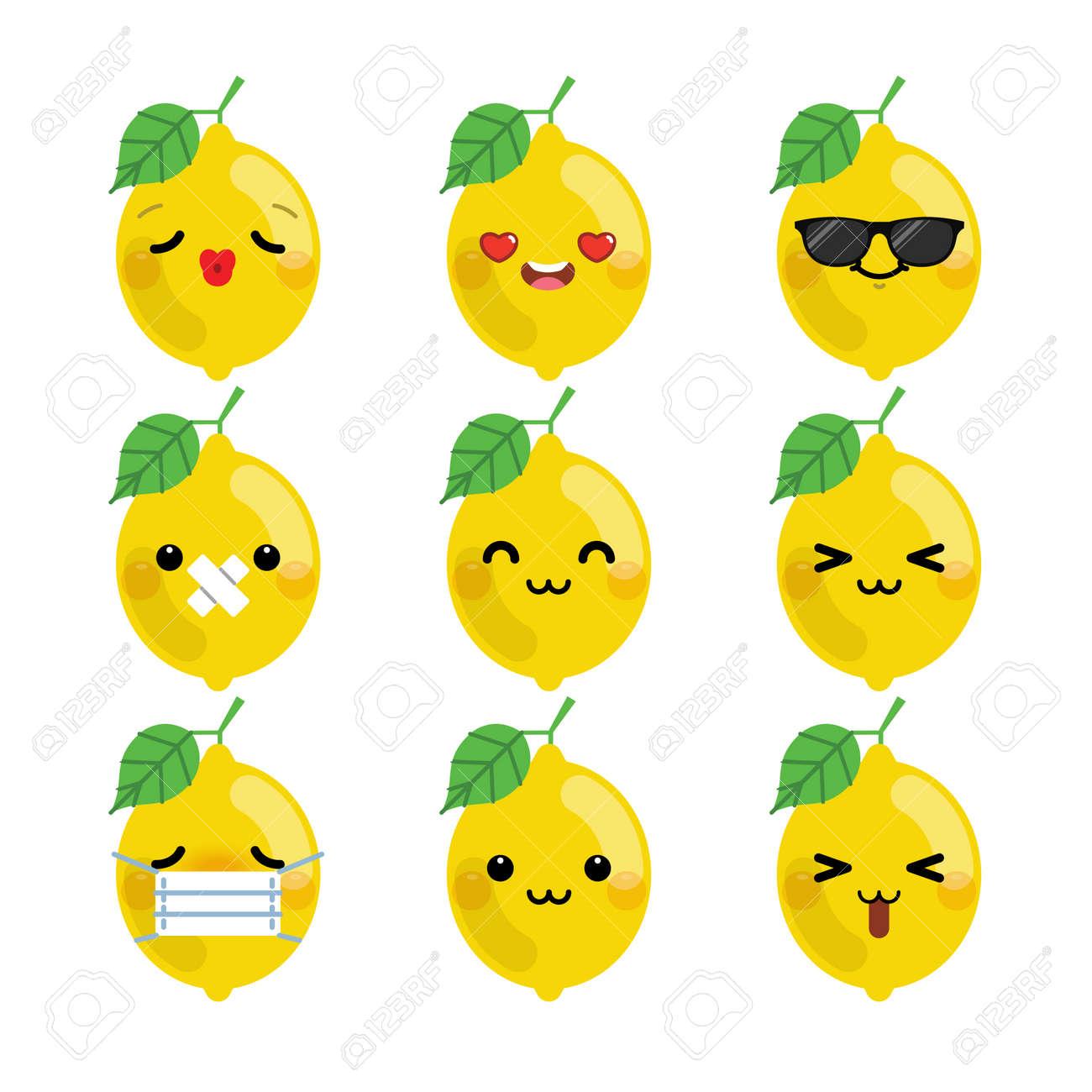 Set of cute cartoon lemon emoji set isolated on white background. Vector Illustration. - 155924814