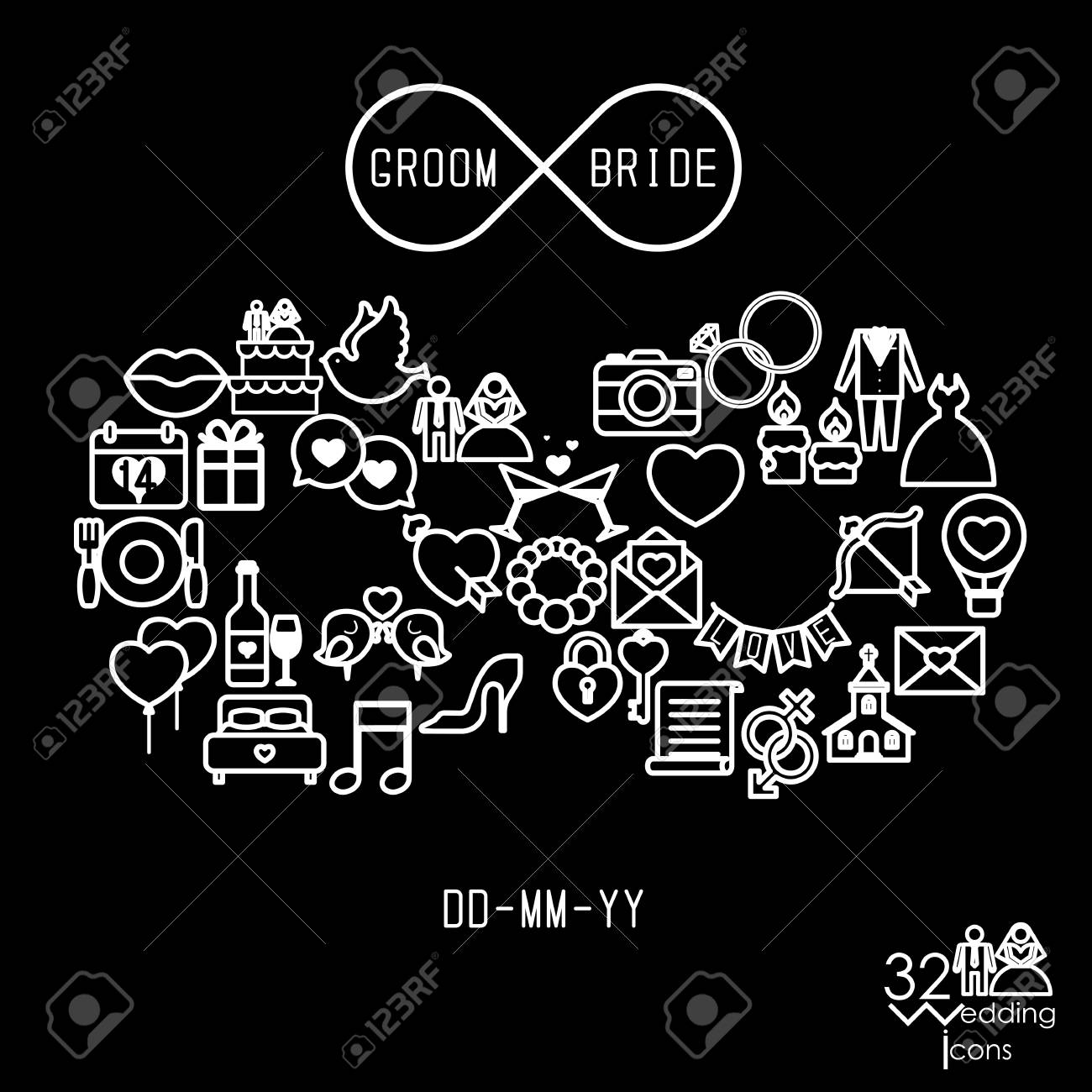 Love Icons Objects In Infinity Shape Infinity Love Forever