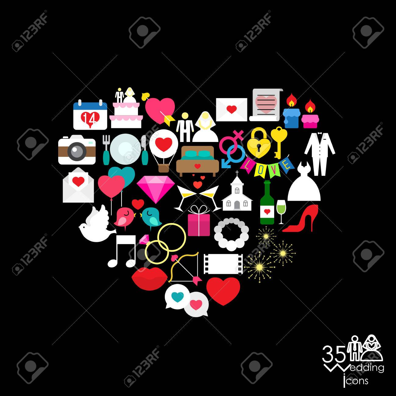 love icon objects in the heart sign shape vector illustration