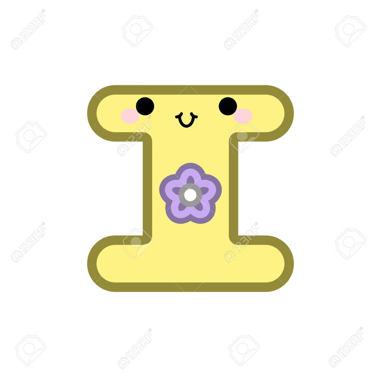 Cute Cartoon Letter I Smiling Face With Eyes And Mouth On White