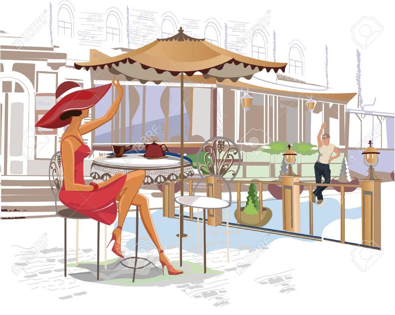 Serie de cafés de la calle en la ciudad con gente bebiendo café Foto de archivo - 38171403