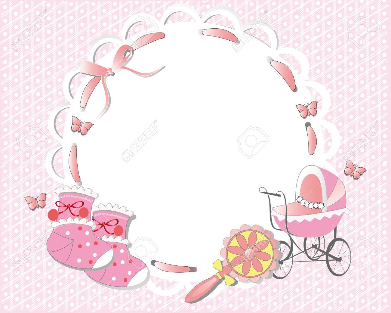 Children frame decorated with a pink ribbon, baby carriage, socks - 60525039