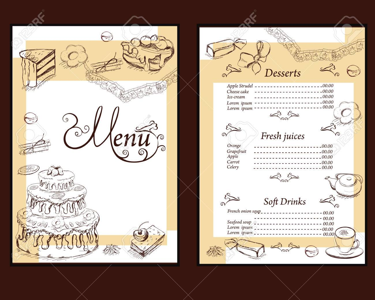 Background With Sweets And Cakes For Menu Design Hand Drawn