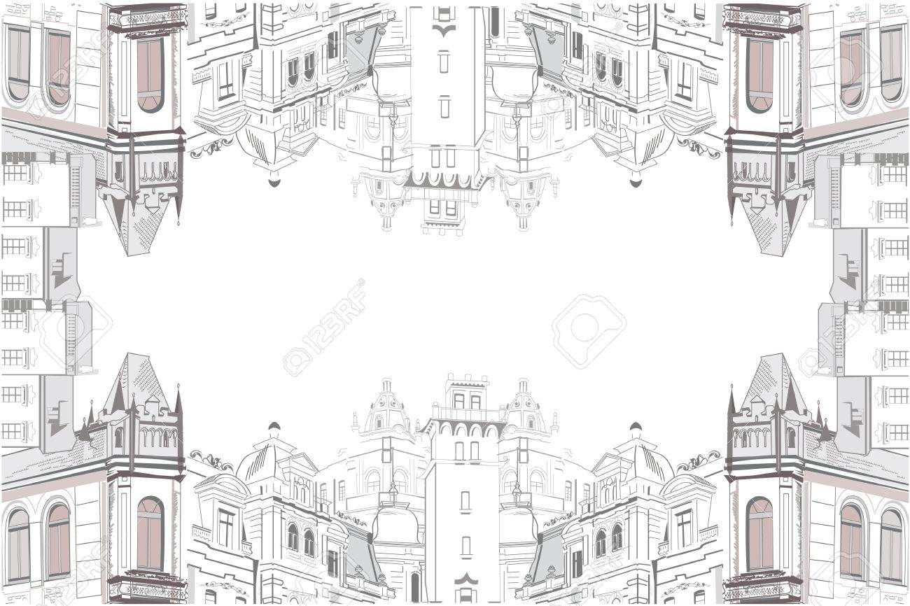 Sketch Of Beautiful Old City View With Cafe - Coffee Frame Royalty ...