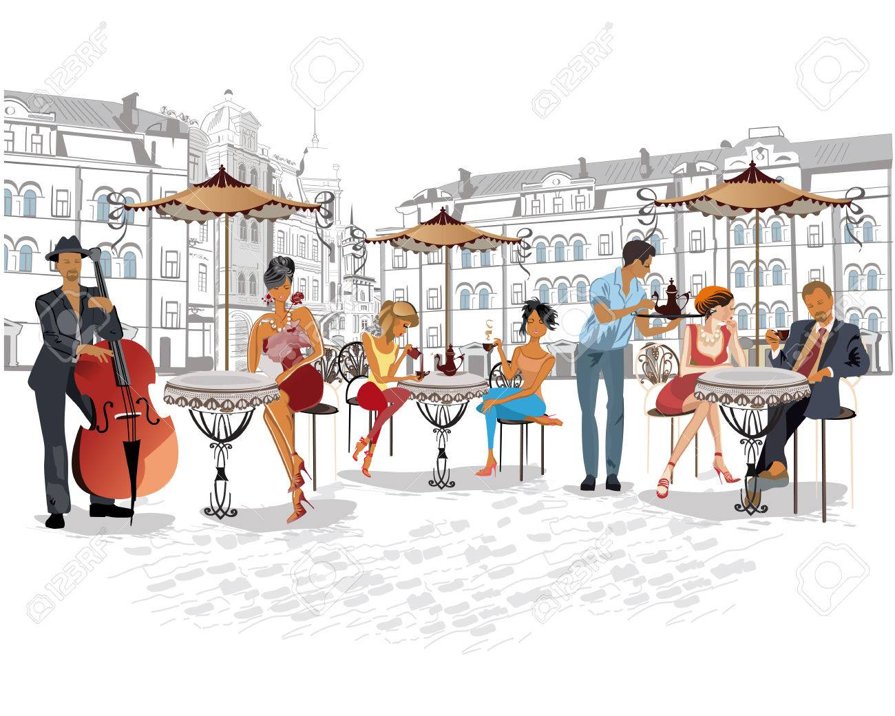 Series of the streets with people in the old city. Waiters serve the tables. Street cafe. Street musicians. Foto de archivo - 60164114
