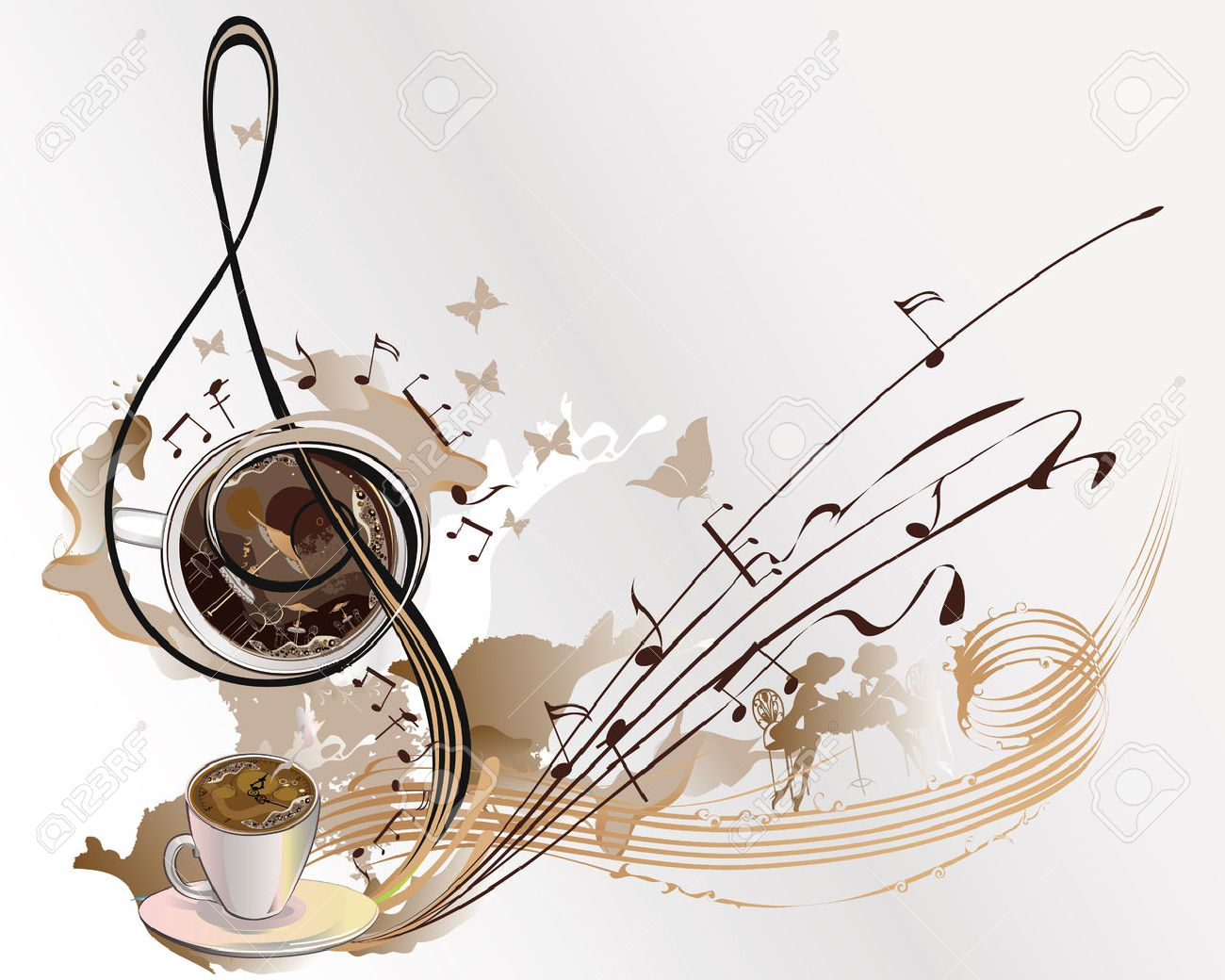Abstract coffee music with cups of coffee, splashes, butterflies, notes. - 63373529