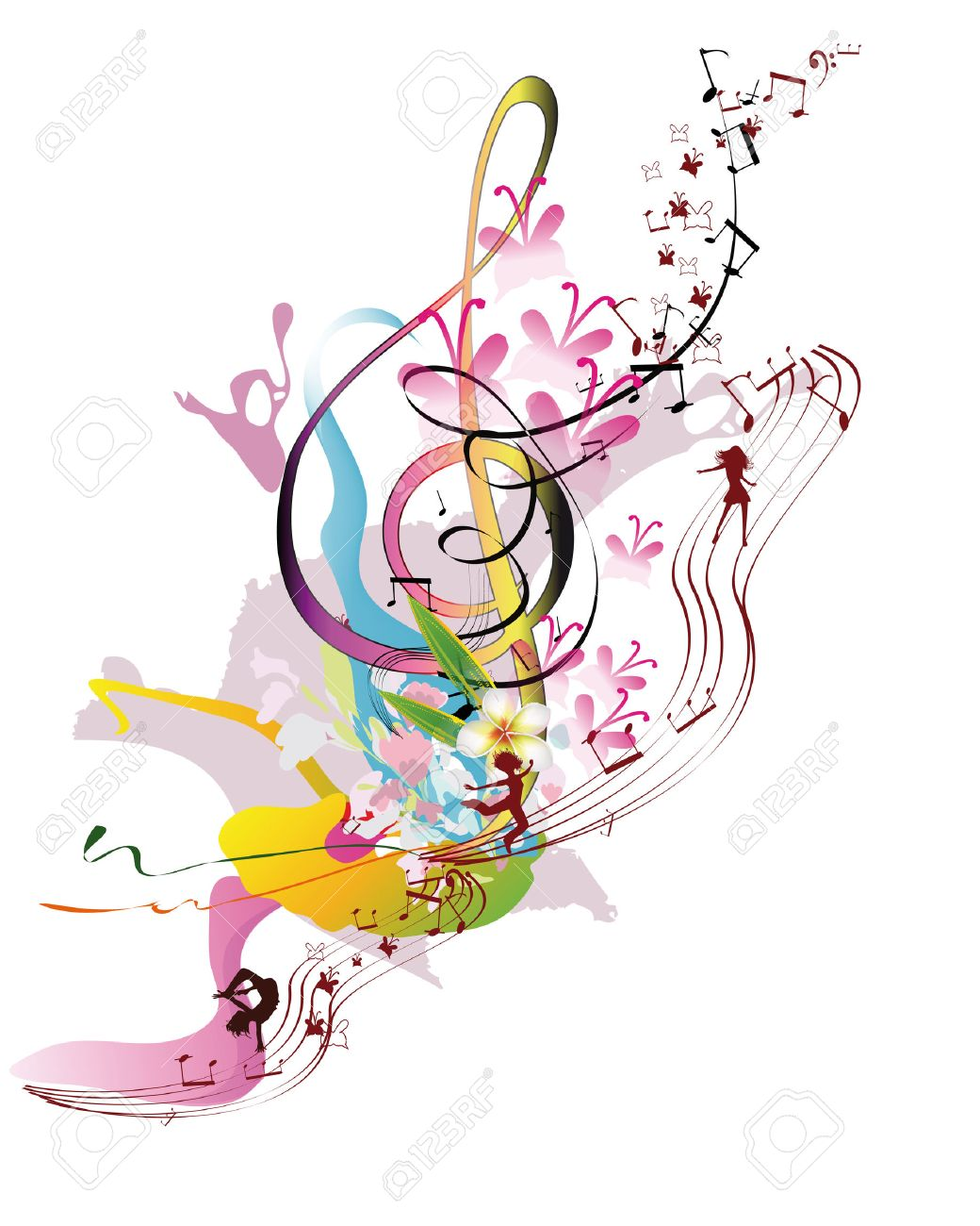 Abstract watercolor treble clef with splashes, flowers and dancing people. Vector illustration. - 65655153