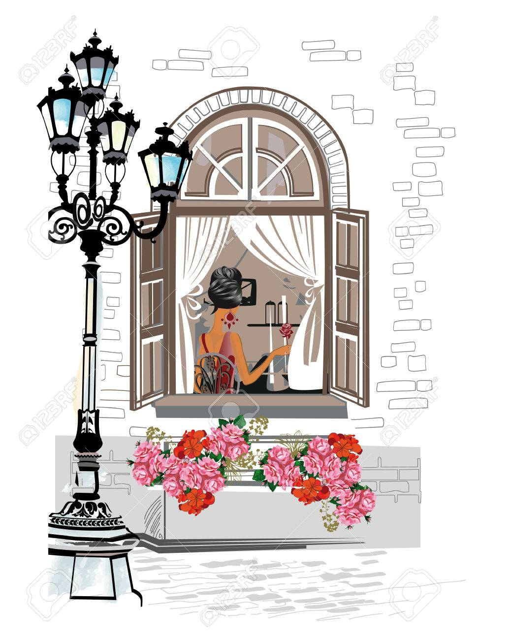 Serie De Fondos Decorados Con Flores Vistas Antiguas De La Ciudad Y