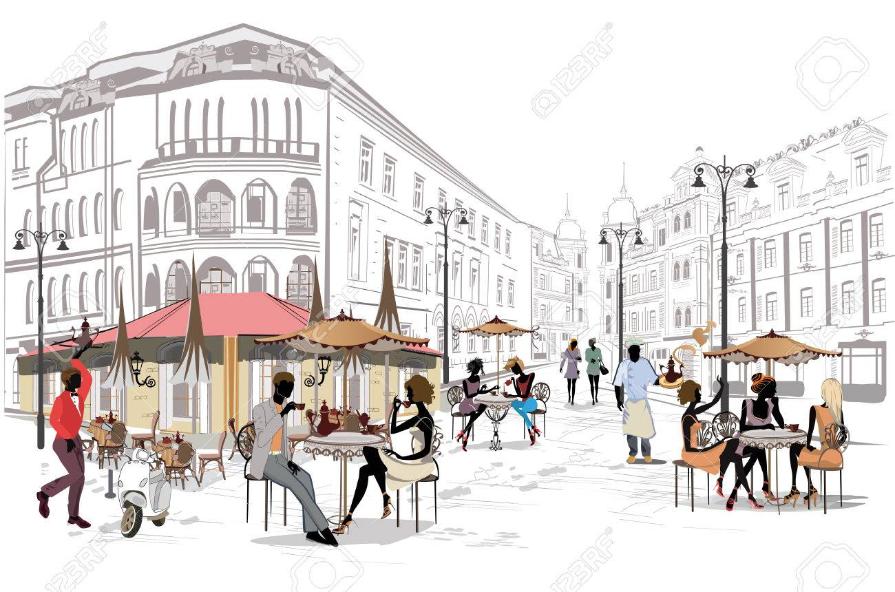 Fashion people in the street cafe. Street cafe with flowers in the old city. Hand drawn illustration. - 87266605