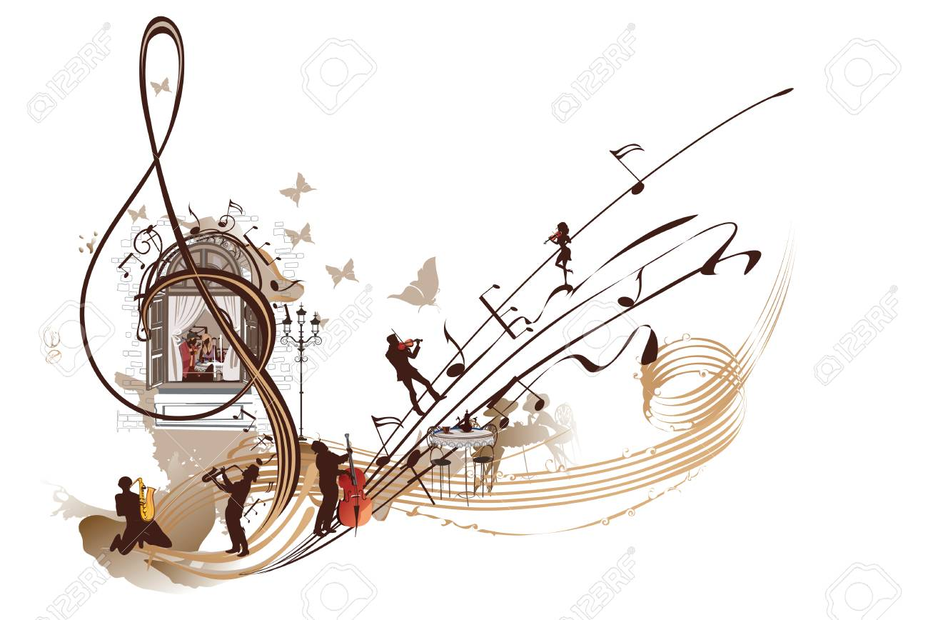 Coffee music. Abstract treble clef decorated with musicians, notes and cafe.Hand drawn vector illustration. - 91548957