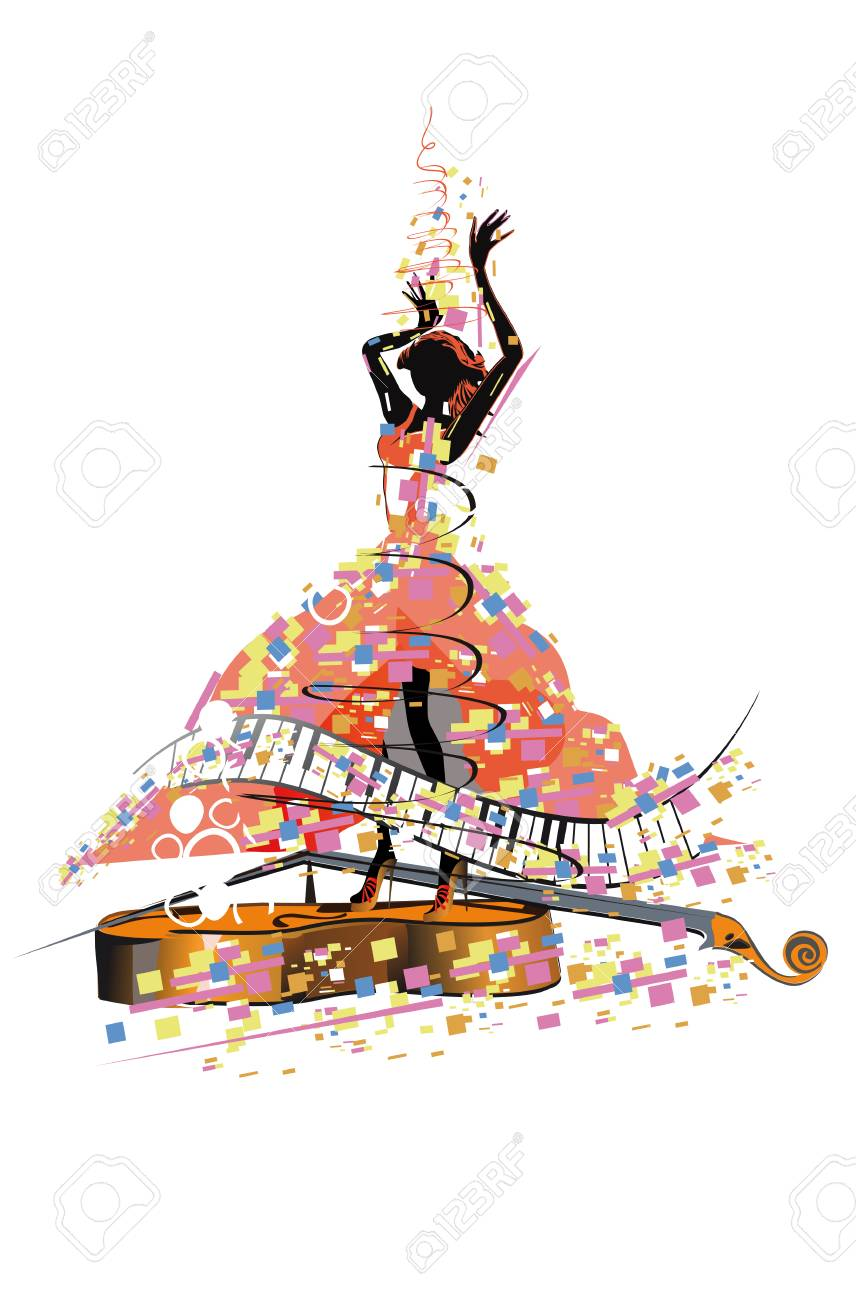 Abstract colorful girl dancer. Salsa festival. Hand drawn poster background. - 109066903