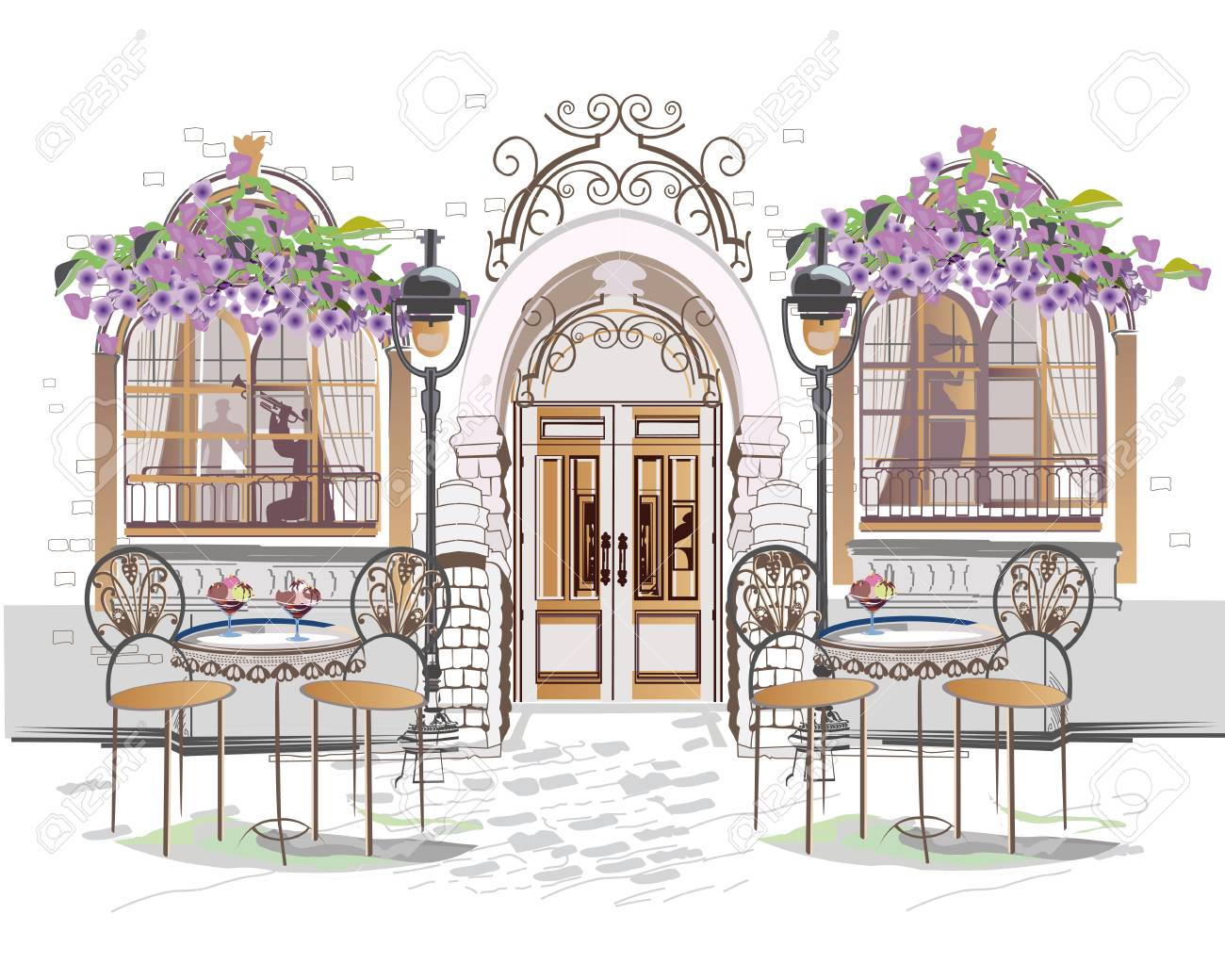Series of backgrounds decorated with flowers, old town views and street cafes. Hand drawn vector architectural background with historic buildings. - 120432103