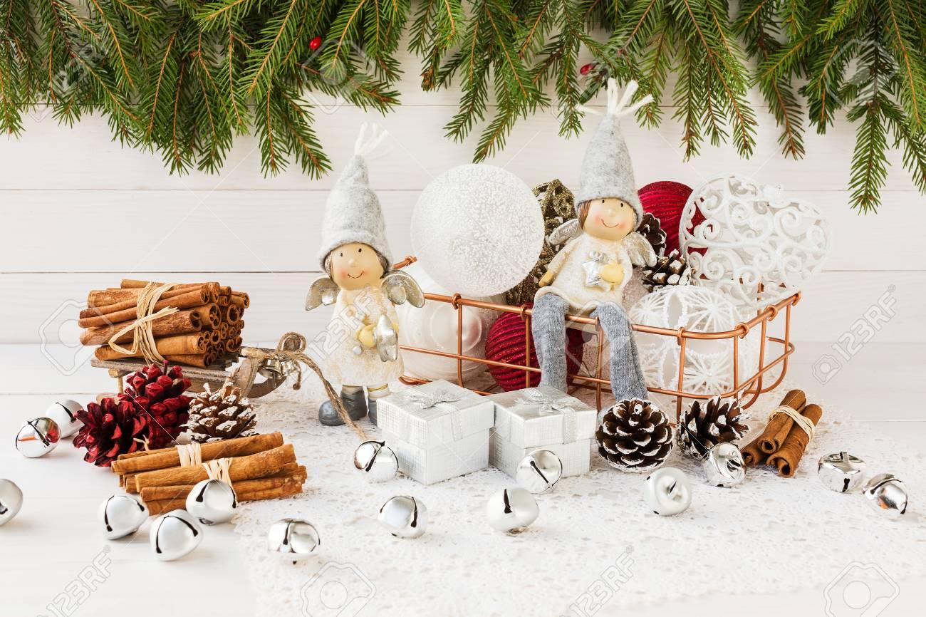 Christmas Angels And Christmas Balls In Basket, Christmas Tree ...