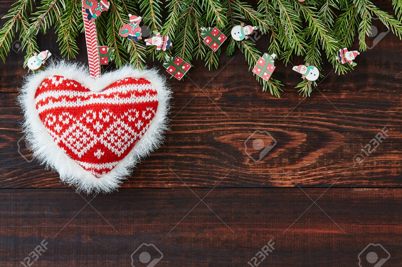 christmas xmas new year background holiday decoration christmas tree heart cone celebration branch card gifts decor greetings copy space