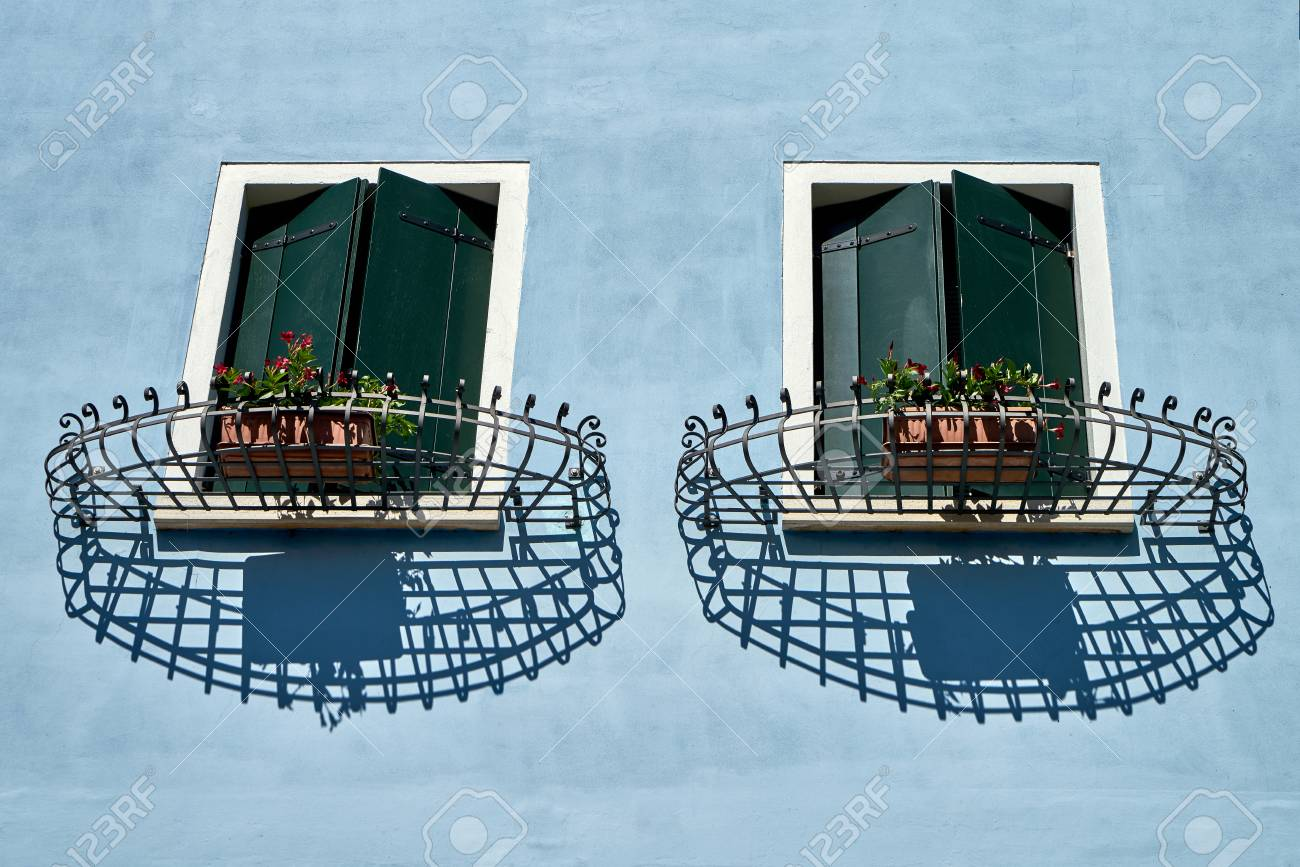 windows with shutter and lattice italy venice stock photo picture