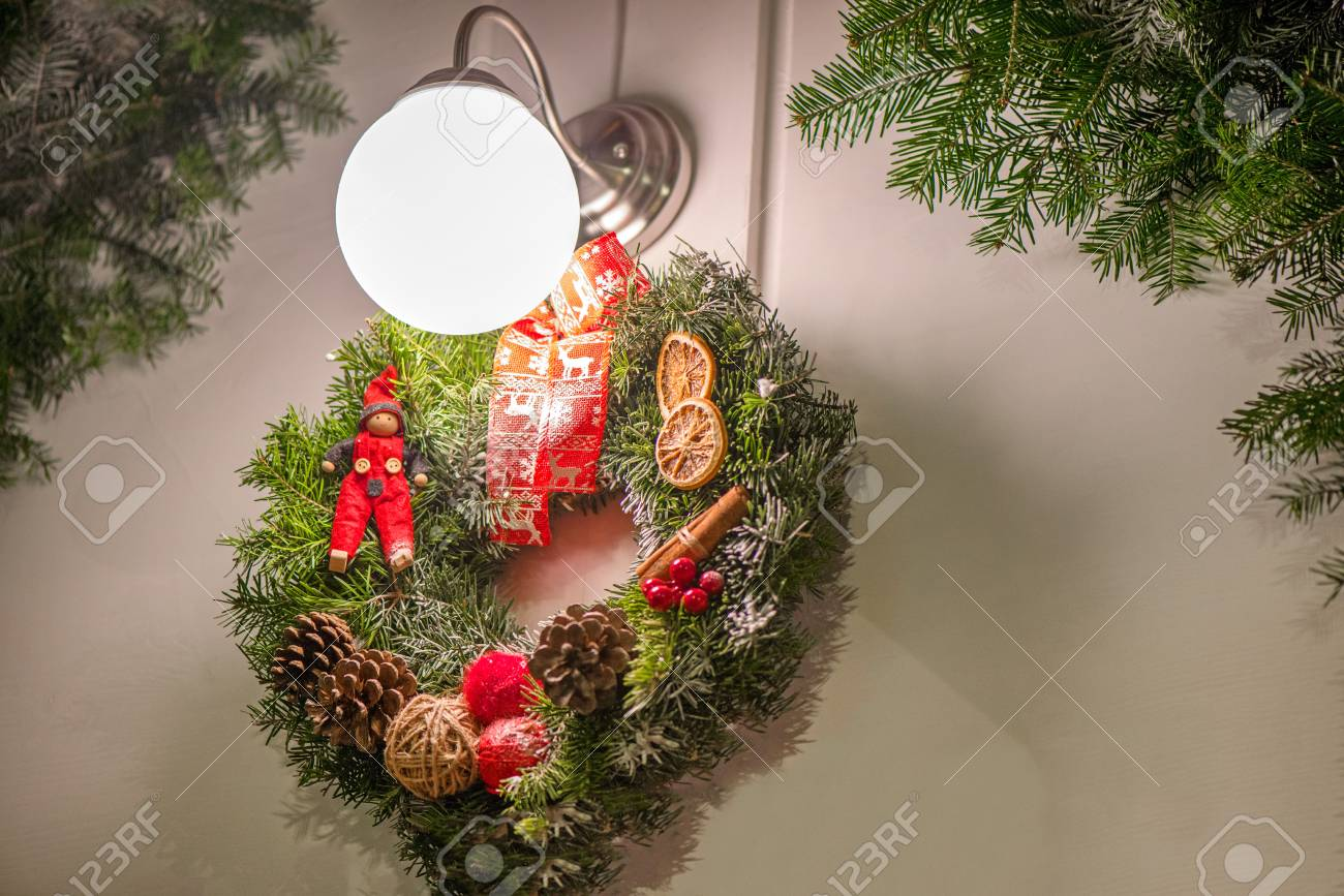 Beautiful Christmas Decorations Hanging On Doors Outside The
