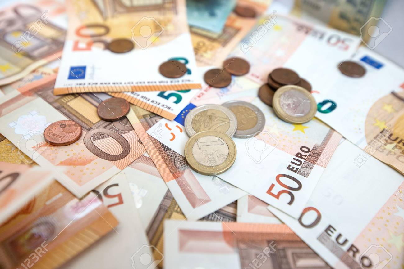 50 Euro Paper Money And Coins Background Hundreds Of Banknotes Stock Photo Picture And Royalty Free Image Image 118855682