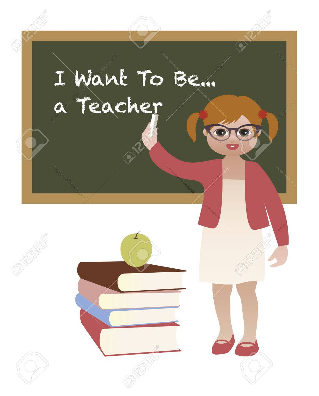 i want to be a teacher little girl showing future aspiration teaching stock