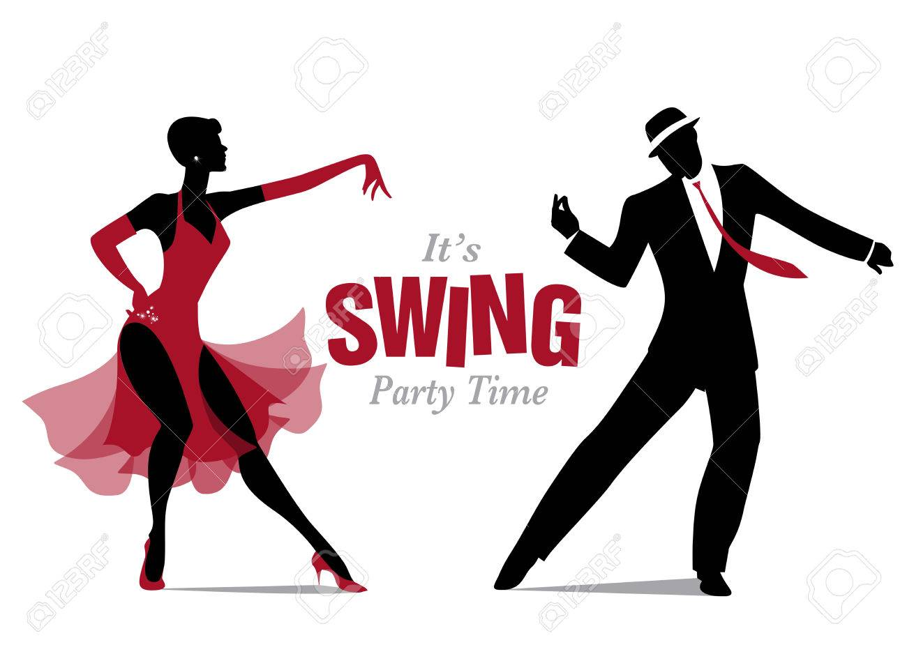 Elegant Couple Dancing Silhouettes Jazz Or Swing Royalty Free Cliparts Vectors And Stock Illustration Image 66755822