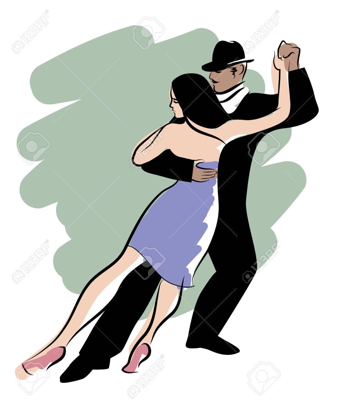 Tango Dance Geïsoleerd Jonge Paar Dansen Tango Royalty Vrije
