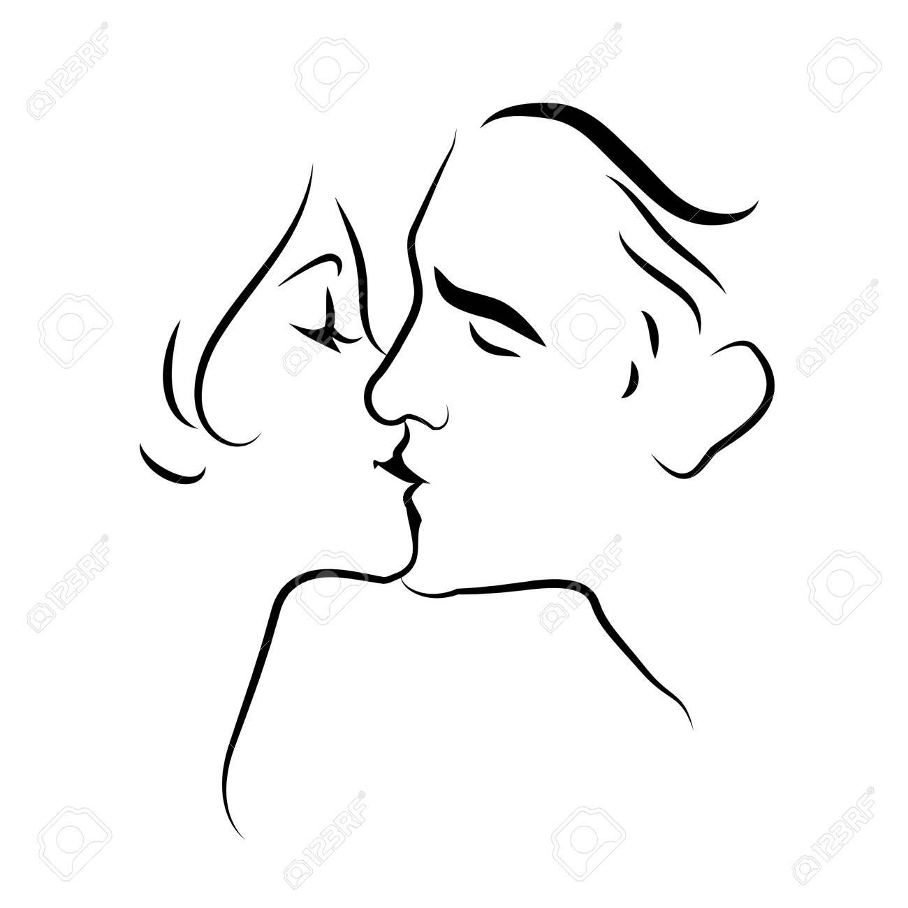 Lovers Kissing. Line Drawing. Vector Illustration Royalty Free ...