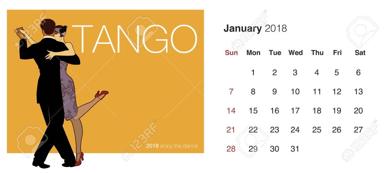 2018 calendar template with dancing couple design stock vector 91651052