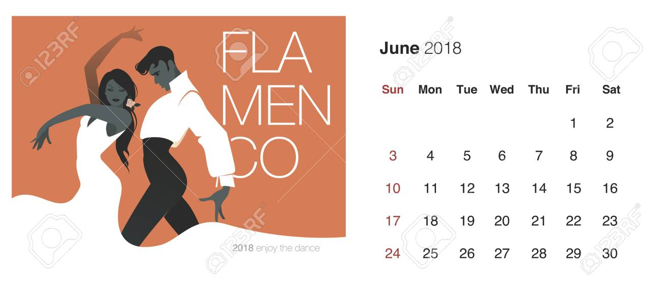 june 2018 calendar with dancing couple icon stock vector 91620624