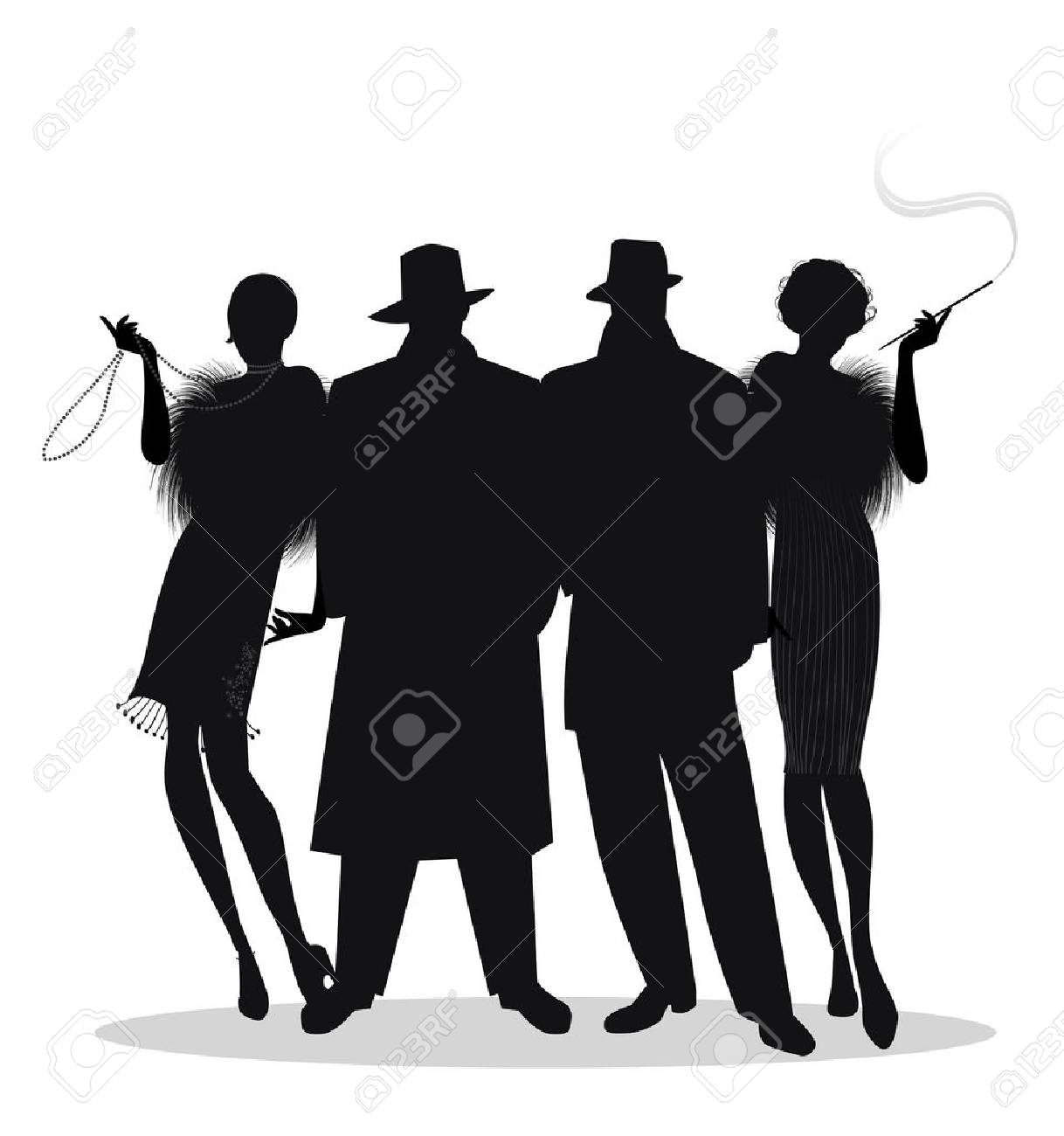 Silhouettes of two men and two flapper girls 20s style isolated on white background. Roaring twenties - 91914539