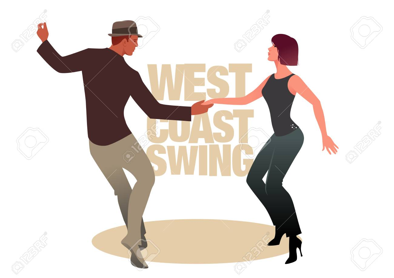 Young couple dancing swing. West Coast Style - 100479515