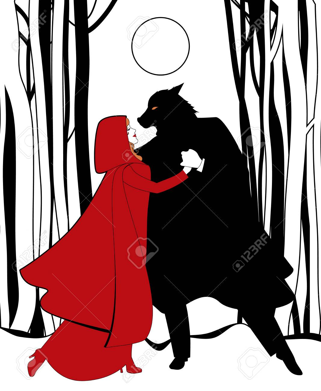 Little Red Riding Hood And The Wolf Dancing In The Forest In