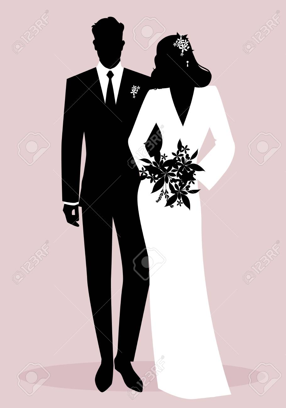 Silhouettes of newlyweds couple wearing wedding clothes. Classic Style. Elegant groom and beautiful bride holding bridal bouquet. - 125659738