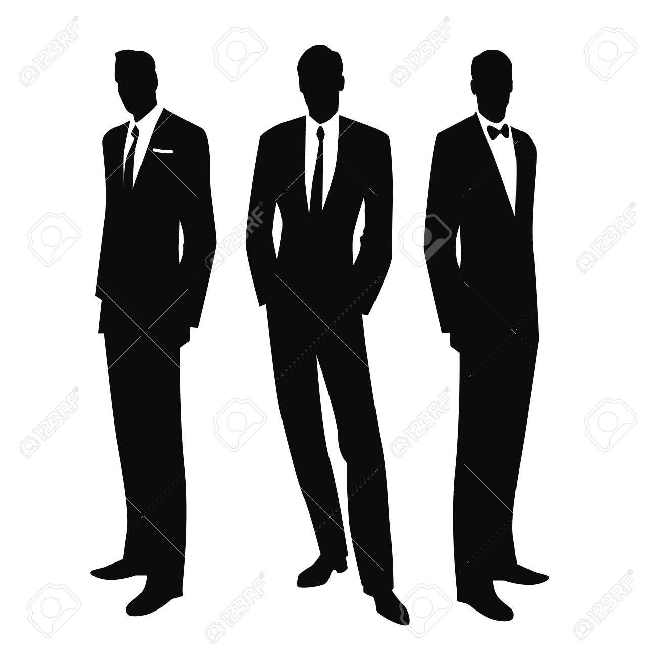 Silhouettes of three men in the retro style of the 50s or 60s isolated on white background - 134527508
