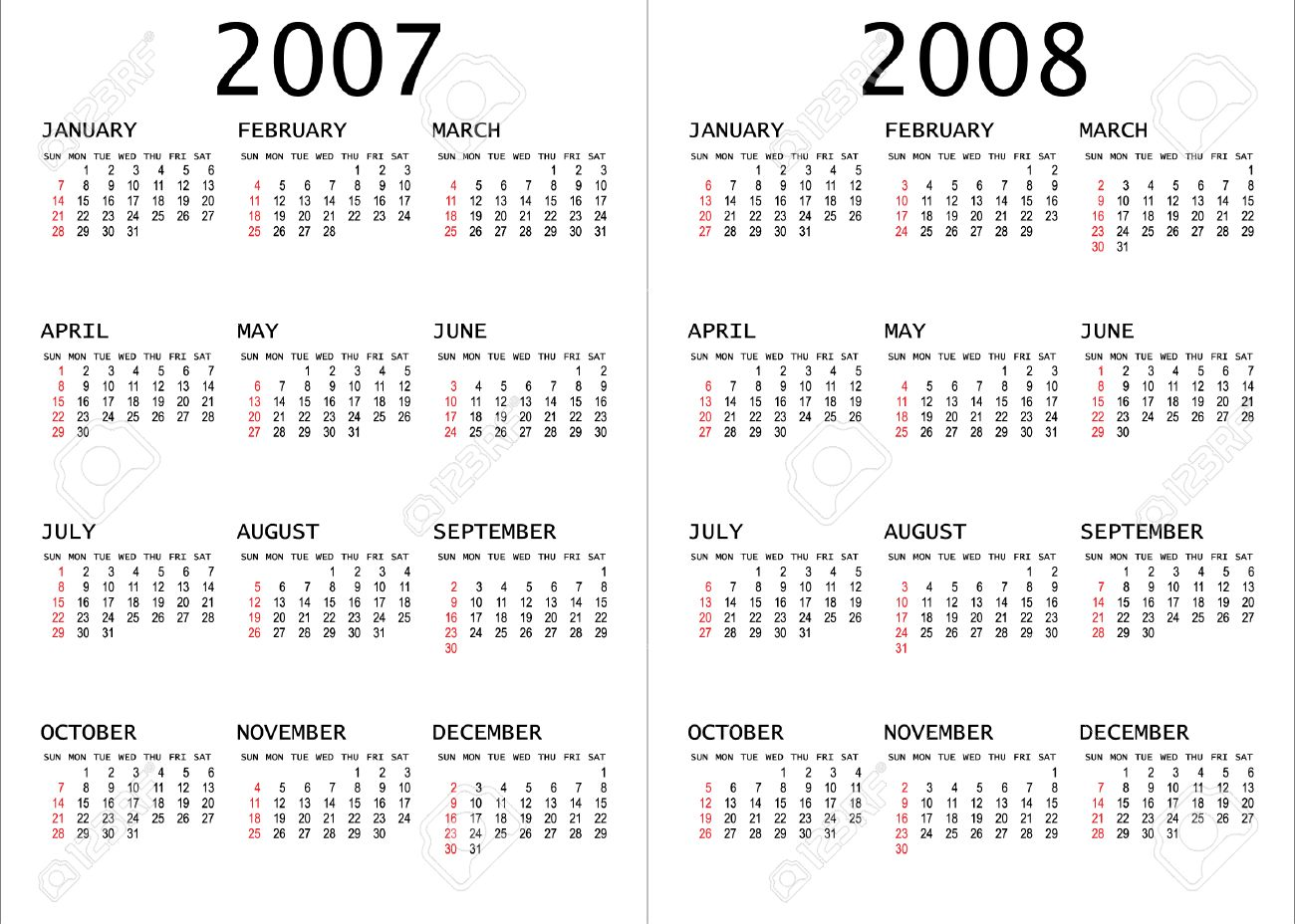 2007 - 2008 calendar vector illustration Stock Vector - 2669968