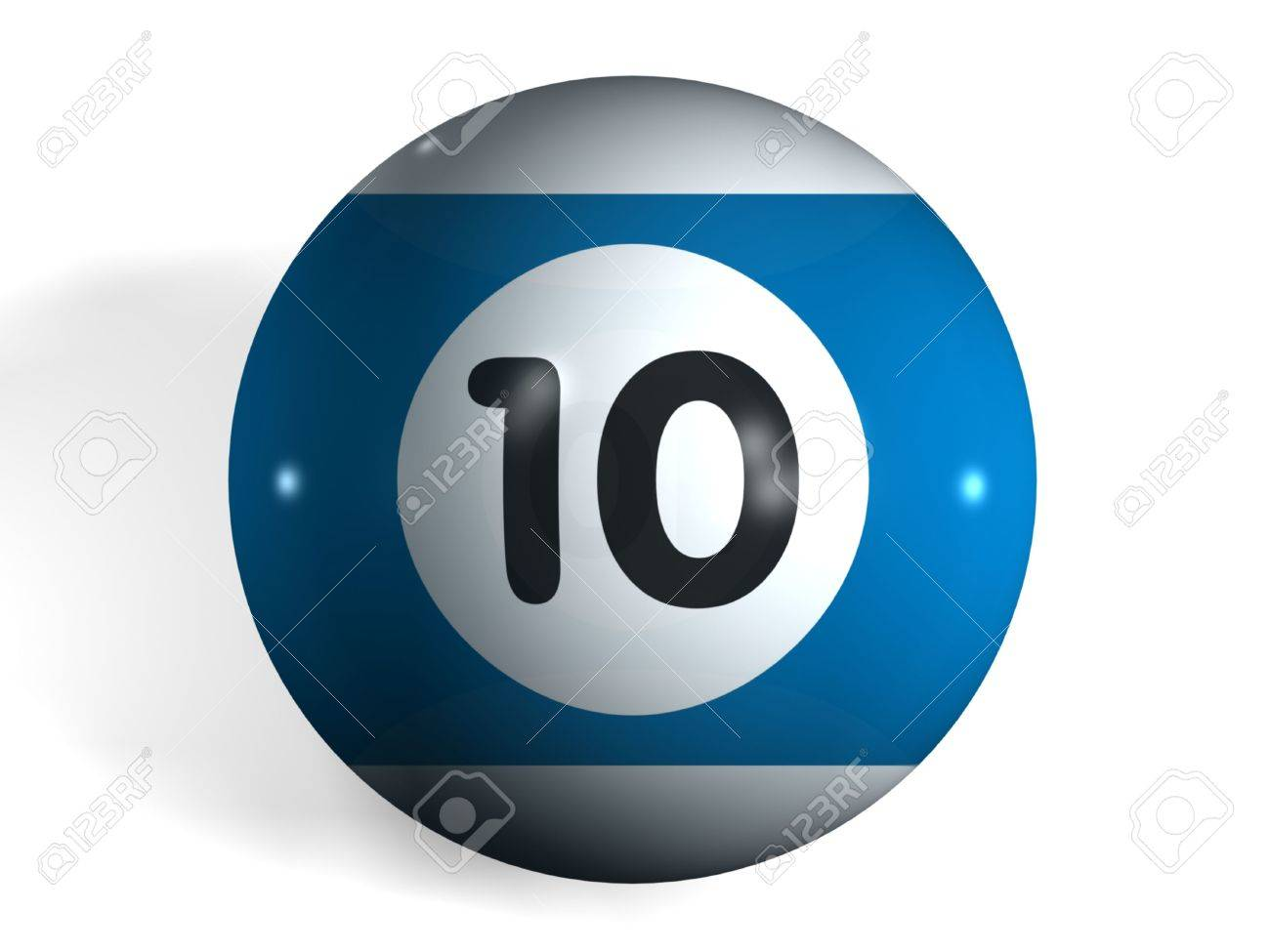 isolated 3d pool ball number 10 stock photo, picture and royalty