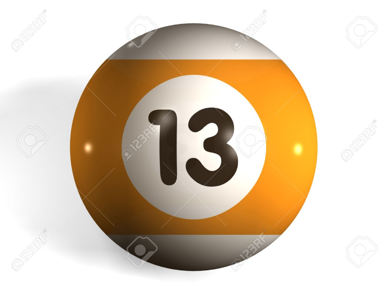 isolated 3d pool ball number 13 stock photo, picture and royalty
