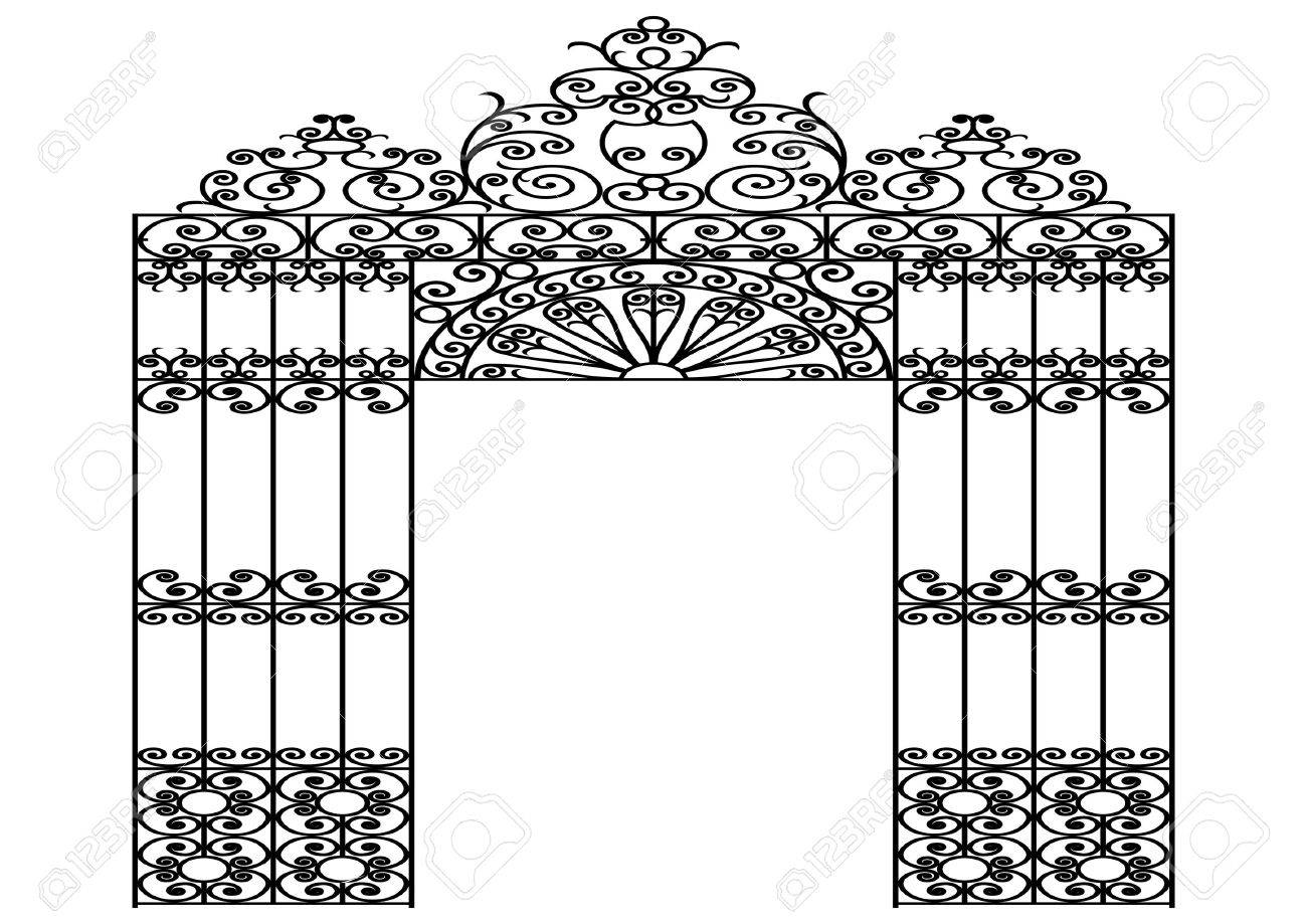vector image of a wrought iron gate Stock Vector - 2704339