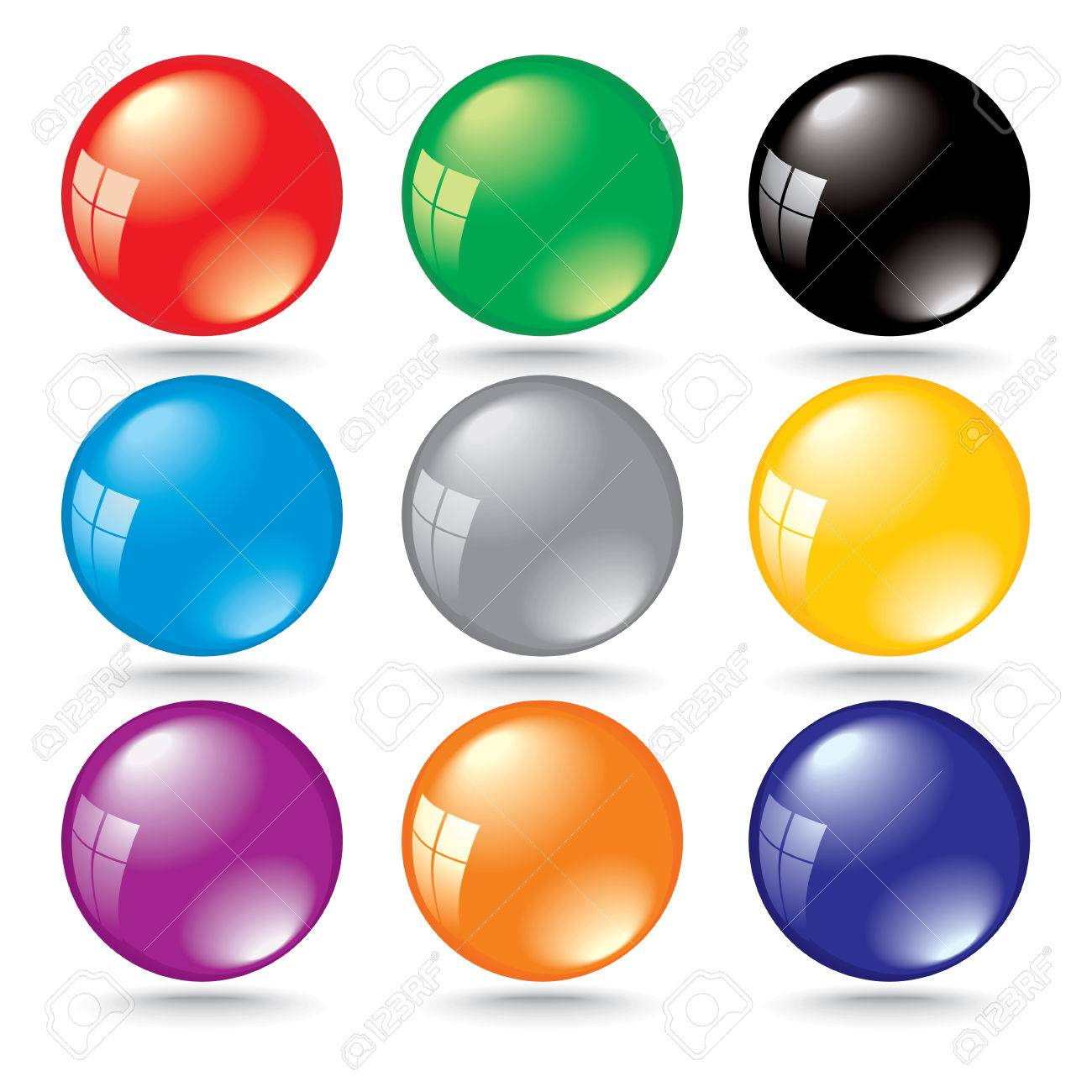 shiny 3d color bubbles with window reflection Stock Vector - 4928154