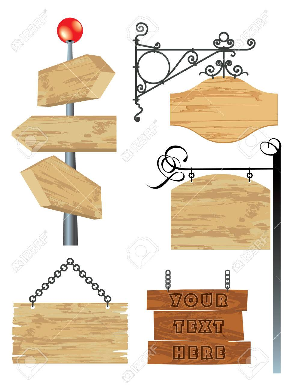 blank wooden signboard collection Stock Vector - 7988695