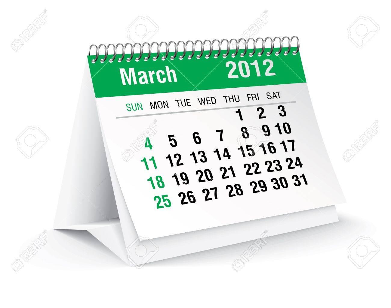 march 2012 desk calendar Stock Vector - 11126333