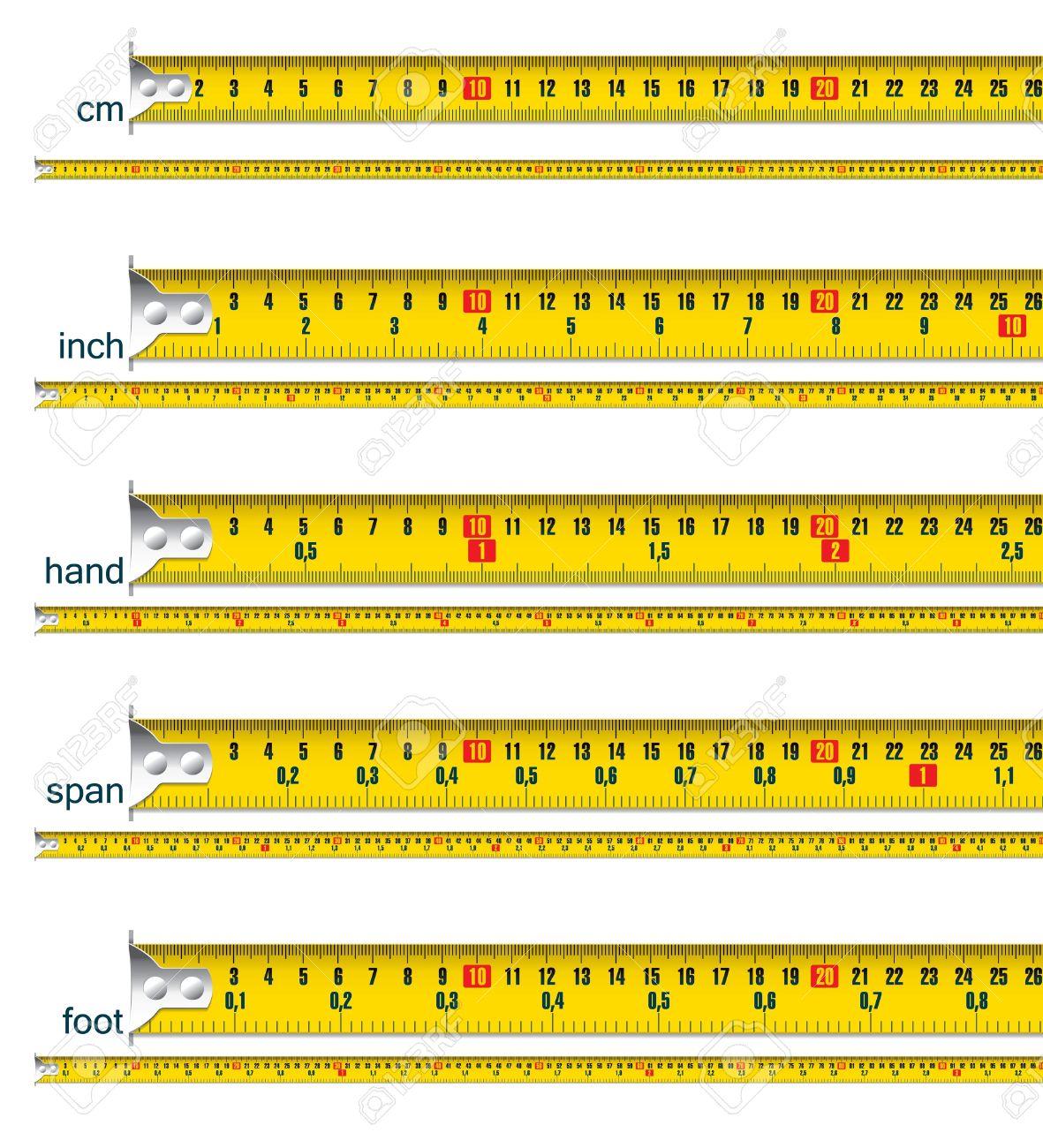 Maßband In Cm, Cm und Inch, Cm Und Hand, Und Spanne Cm, Cm Und Fuß ...