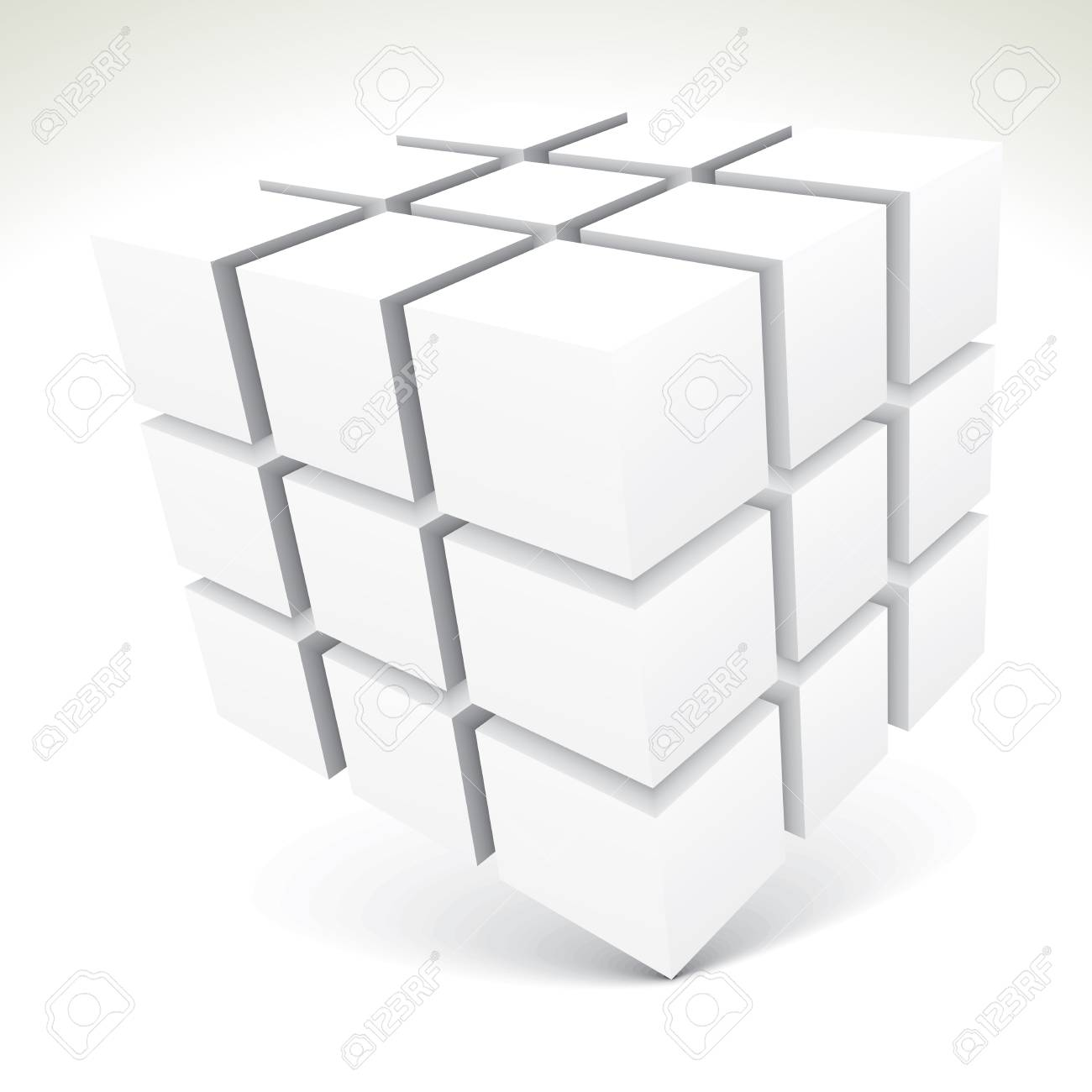 3D white cubes - vector illustration Stock Vector - 18170360