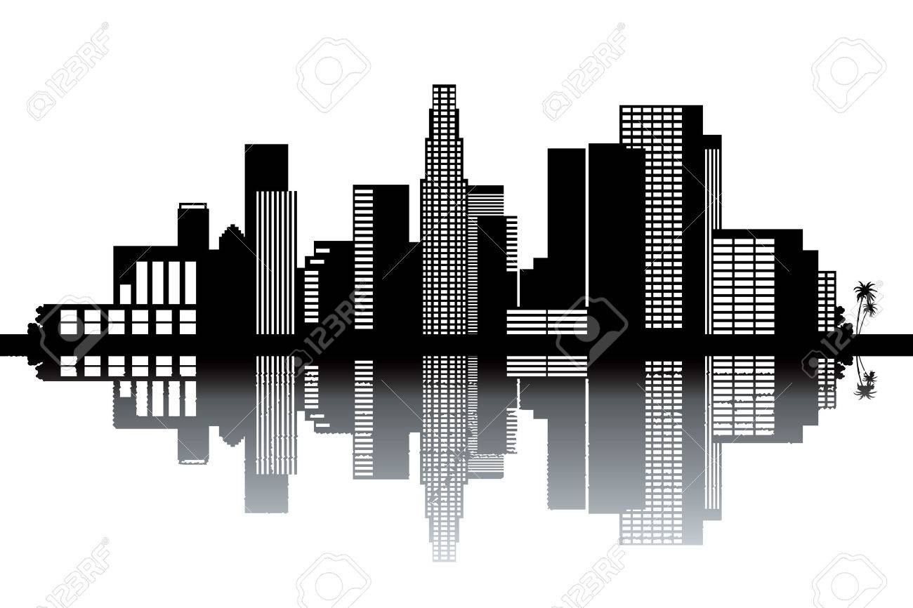 Los Angeles skyline - black and white vector illustration Stock Vector - 24021360