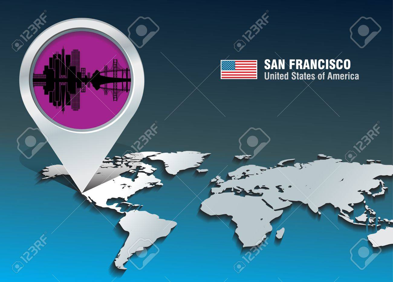 Map Pin With San Francisco Skyline Vector Illustration Royalty