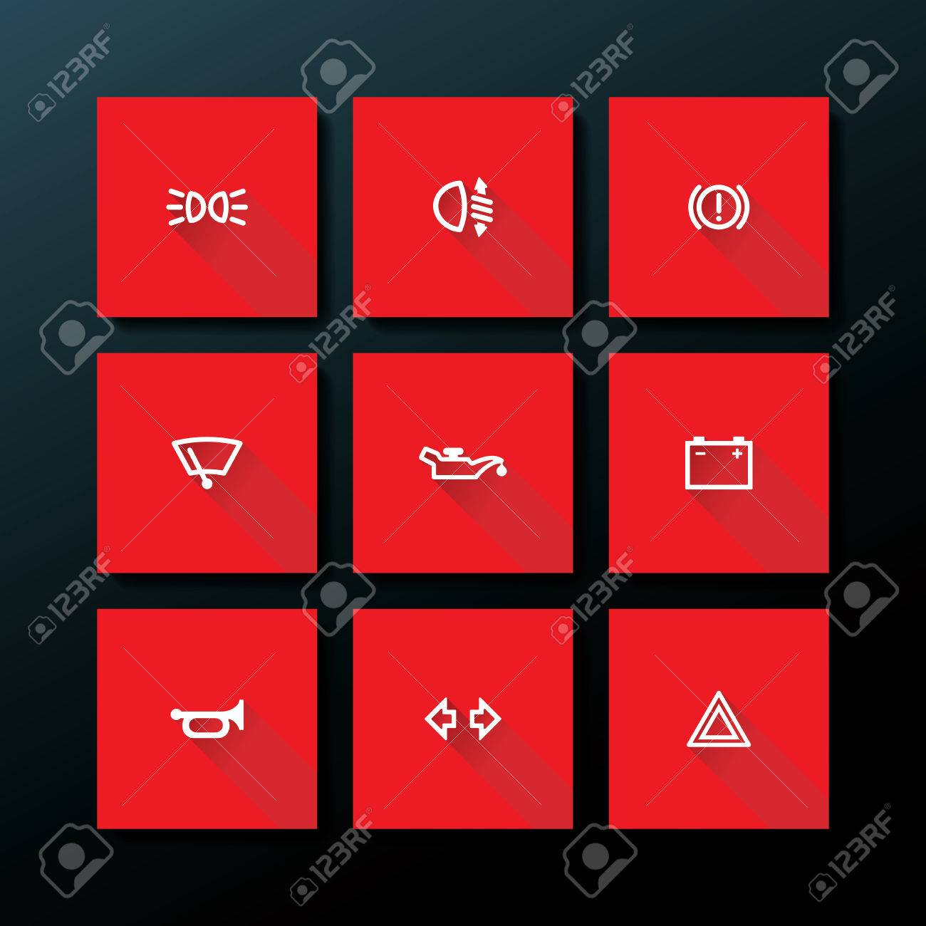Flat Car Dashboard Icon Set Vector Illustration Royalty Free - Car sign on dashboard